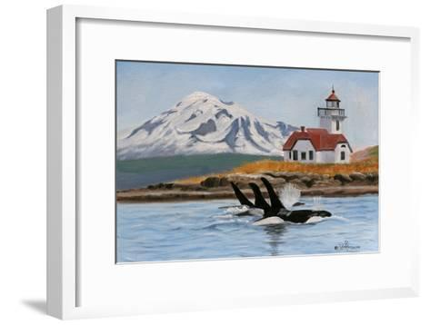 Patos Lighthouse and Orcas-Julie Peterson-Framed Art Print