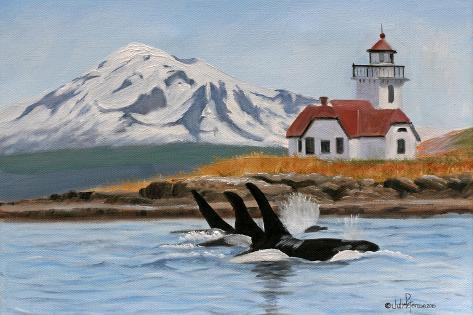 Patos Lighthouse and Orcas-Julie Peterson-Stretched Canvas Print