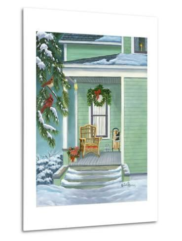 Cardinals and Christmas Porch-Julie Peterson-Metal Print