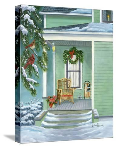 Cardinals and Christmas Porch-Julie Peterson-Stretched Canvas Print