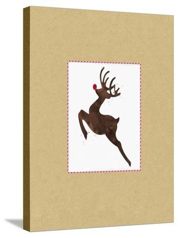 Rudolph on Kraft-Linda Woods-Stretched Canvas Print
