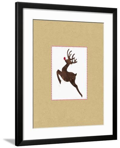 Rudolph on Kraft-Linda Woods-Framed Art Print