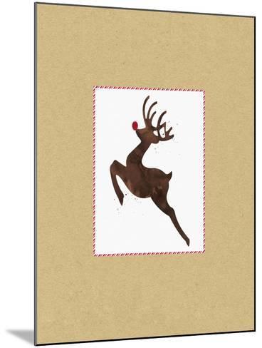 Rudolph on Kraft-Linda Woods-Mounted Art Print
