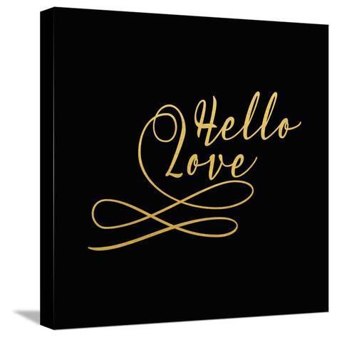 Hello Love Gold on Black-Tara Moss-Stretched Canvas Print