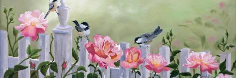 Chickadees and Pink Roses-Julie Peterson-Stretched Canvas Print
