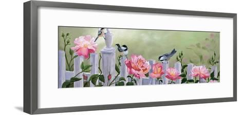 Chickadees and Pink Roses-Julie Peterson-Framed Art Print