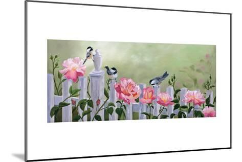 Chickadees and Pink Roses-Julie Peterson-Mounted Art Print