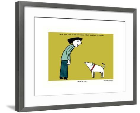 Smiles at Dogs (Yellow)-Corrina Rothwell-Framed Art Print