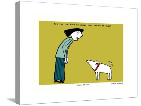 Smiles at Dogs (Yellow)-Corrina Rothwell-Stretched Canvas Print