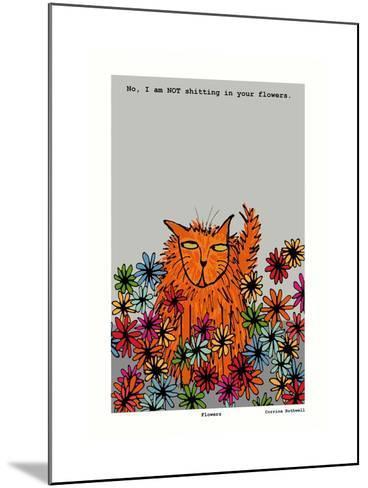 Flowers (Grey)-Corrina Rothwell-Mounted Giclee Print