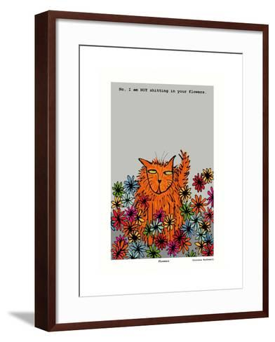 Flowers (Grey)-Corrina Rothwell-Framed Art Print