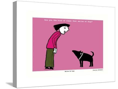 Smiles at Dogs (Pink)-Corrina Rothwell-Stretched Canvas Print