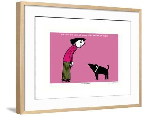 Smiles at Dogs (Pink)-Corrina Rothwell-Framed Art Print
