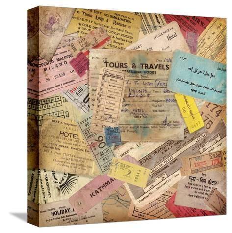Vintage Travel Background Made Of Lots Of Old Tickets-shootandwin-Stretched Canvas Print