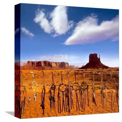 Dreamcatcher Monument West Mitten Butte Morning With Navajo Indian Crafts Utah-holbox-Stretched Canvas Print