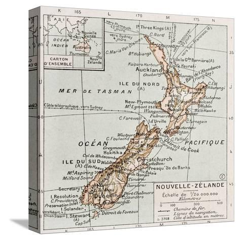New Zealand Old Map-marzolino-Stretched Canvas Print