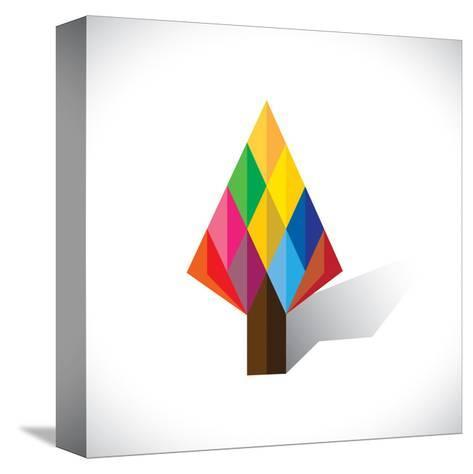 Colorful Abstract Tree Icon(Sign) Made Of Diamond Shapes-smarnad-Stretched Canvas Print