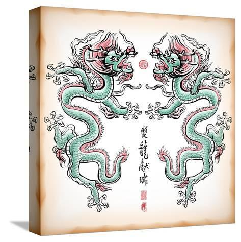 Chinese Ink Painting Of Dragon Translation: Blessing Of Double Dragons-yienkeat-Stretched Canvas Print