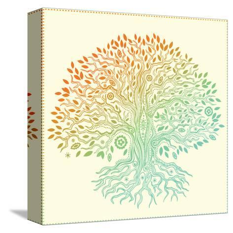 Beautiful Vintage Hand Drawn Tree Of Life-transiastock-Stretched Canvas Print