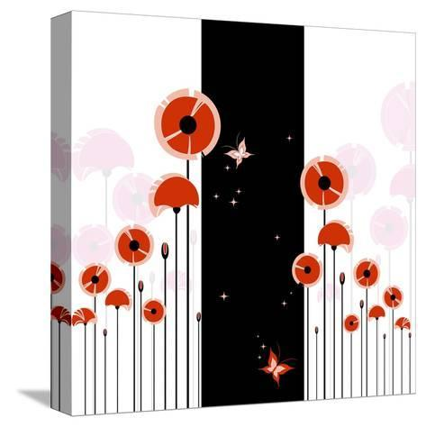Abstract Red Poppy On Black And White Background-meikis-Stretched Canvas Print