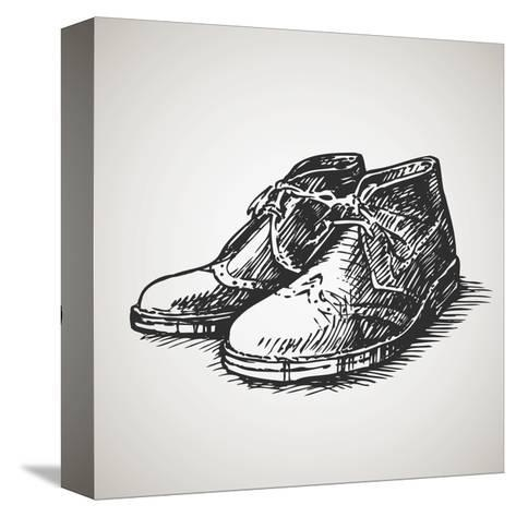 Sketched Vintage Desert Boots-molaruso-Stretched Canvas Print