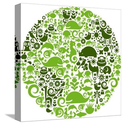 Green Globe Outline Made From Birds, Animals And Flowers Icons-Marish-Stretched Canvas Print
