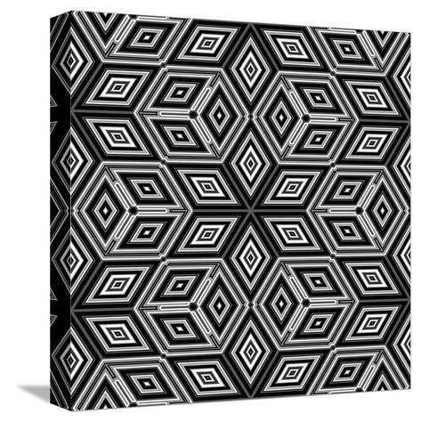 Black And White 3D Cubes Illustration - Escher Style-Kamira-Stretched Canvas Print