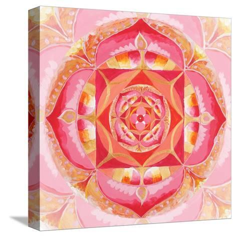 Abstract Red Painted Picture With Circle Pattern, Mandala Of Muladhara Chakra-shooarts-Stretched Canvas Print