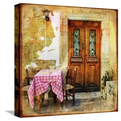 Pictorial Old Greek Streets With Tavernas - Retro Styled Picture-Maugli-l-Stretched Canvas Print