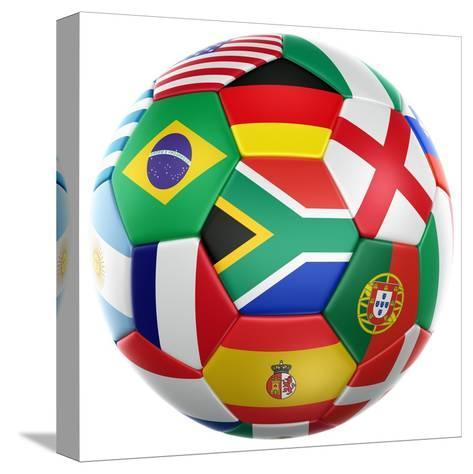 3D Rendering Of A Soccer Ball With Flags Of The Participating Countries In World Cup 2010-zentilia-Stretched Canvas Print