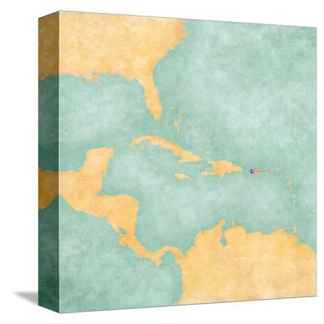 Map Of Caribbean - Puerto Rico (Vintage Series)-Tindo-Stretched Canvas Print