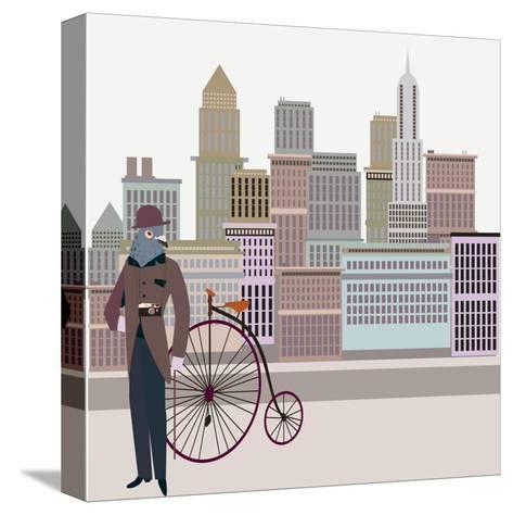 Retro New York Illustration - Vintage Bird On A Bike-run4it-Stretched Canvas Print