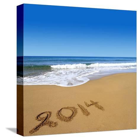 2014 Written On Sandy Beach-viperagp-Stretched Canvas Print