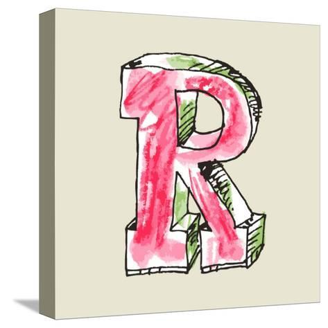 Crayon Alphabet, Hand Drawn Letter R-Andriy Zholudyev-Stretched Canvas Print
