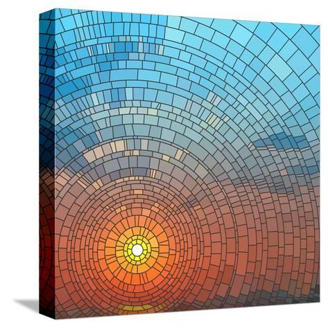 Sunset In Sea-Vertyr-Stretched Canvas Print
