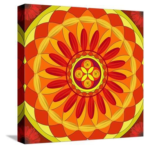 Floral Mandala Drawing Sacred Circle-AGCuesta-Stretched Canvas Print