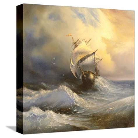 Ancient Sailing Vessel In Stormy Sea-balaikin2009-Stretched Canvas Print