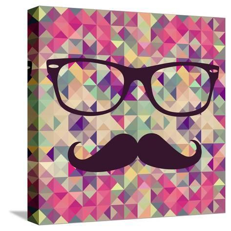 Geometric Hipster Face-cienpies-Stretched Canvas Print