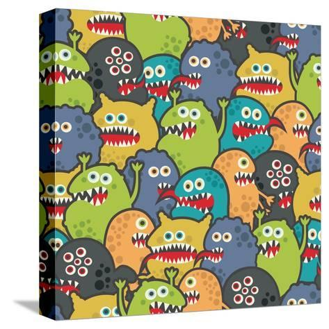 Cute Monsters Seamless Texture-panova-Stretched Canvas Print