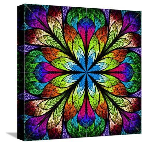 Multicolor Beautiful Fractal Flower. Computer Generated Graphics-velirina-Stretched Canvas Print