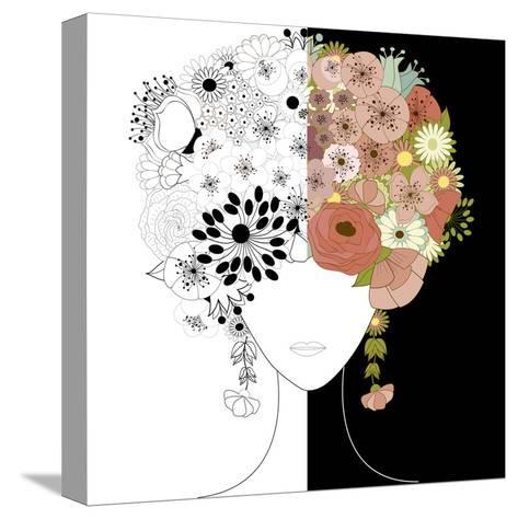 Woman Floral Silhouette-Rouz-Stretched Canvas Print