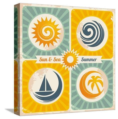 Retro Summer Holiday Poster-Lukeruk-Stretched Canvas Print