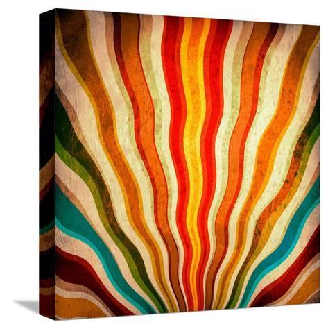 Multicolor Sunbeams Grunge Background. A Vintage Poster-molodec-Stretched Canvas Print