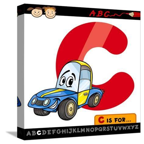 Letter C With Car Cartoon Illustration-Igor Zakowski-Stretched Canvas Print