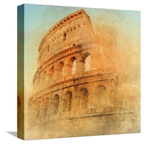 Great Antique Rome - Coloseum , Artwork In Retro Style-Maugli-l-Stretched Canvas Print