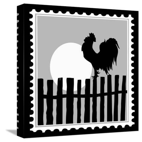 Silhouette Of The Cock On Postage Stamps-basel101658-Stretched Canvas Print