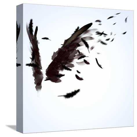 Abstract Image Of Black Wings Against Light Background-Sergey Nivens-Stretched Canvas Print