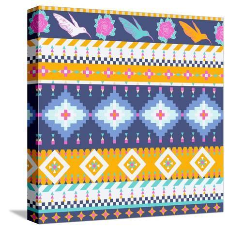 Aztec Pattern-tomuato-Stretched Canvas Print