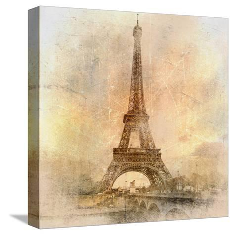 Retro Styled Background - Eiffel Tower-Maugli-l-Stretched Canvas Print