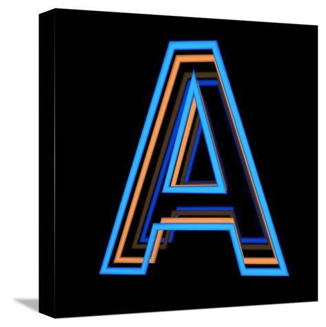 Glowing Letter A Isolated On Black Background-Andriy Zholudyev-Stretched Canvas Print